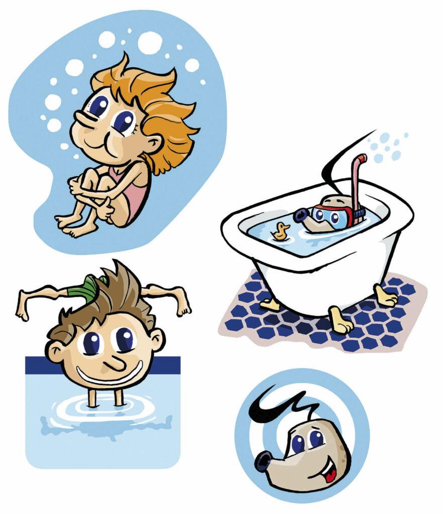 Schwimmschule Illustrationen